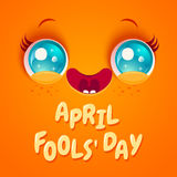 April fool`s day. Vector illustration of cute orange face for april fool`s day. Kawaii face with eyes and freckles Royalty Free Stock Images