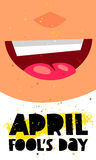 1 April Fool`s Day. Vector illustration of a smiling face. Great holiday gift card Stock Image