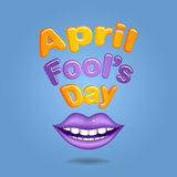 April Fool's Day. Violet  lips Stock Photos