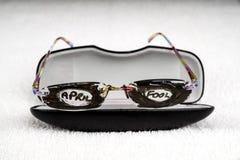 April Fool Trick Glasses Stock Afbeeldingen