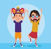 April fools boy and girl cartoon. April fools boy and girl with glasses nose and mustache cartoon vector illustration graphic design vector illustration