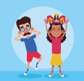April fools boy and girl cartoon. April fools boy and girl laughing cartoon vector illustration graphic design vector illustration