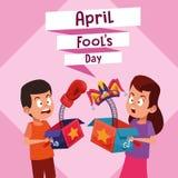 April fools boy and girl cartoon. April fools boy and girl laughing cartoon vector illustration graphic design royalty free illustration