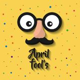 April fools cartoon face with funny glasses and mustache. Vector illustration Royalty Free Stock Images