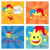 April fools day. April fools day greeting card with clown vector illustration
