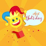 April fools day. April fools day greeting card with clown Royalty Free Illustration