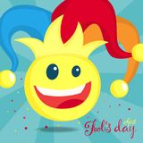 April fools day. April fools day greeting card with clown Stock Image