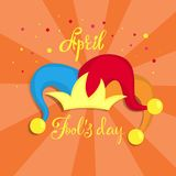 April fools day. April fools day greeting card with clown hat Stock Image