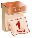 1 April Fools Day Arrachez la feuille de calendrier Photographie stock libre de droits