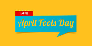 1 April Fools Day banner isolated on yellow background. Banner design template in paper cutting art style. Vector. Royalty Free Stock Images