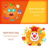 April Fools Day banner set template, cartoon style. April Fools Day banner set template. Cartoon illustration of banner vector set template for any web design Stock Images