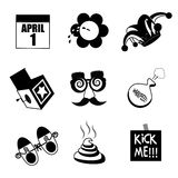 April Fools Day black and white icon collection. Royalty Free Stock Image