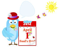 April fools day. Blue Bird with a calendar. April fools day. Blue Bird in a hat with a calendar and speech bubble against sun and butterflies. Vector Royalty Free Stock Image