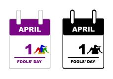 April Fools` Day calendar. Isolated on white Stock Photography