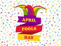 April fools day. Cap with bells. Jester hat with ribbon. Festive banner. Vector Stock Photography