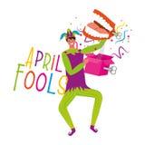 April fools day card. Jester with suprise box vector image digital design vector illustration