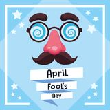 April fools day card. With joke cartoo and stars vector illustration graphic design vector illustration