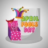 April fools day card with prank box jester hat. Vector illustration Royalty Free Stock Photography