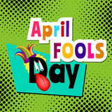 April Fools day Cartoon text. On green pop art comic halftone background Stock Images