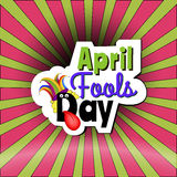 April Fools day Cartoon text. On a pop art comic background Royalty Free Stock Image