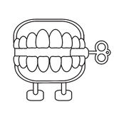 April fools day chattering teeth thin line Royalty Free Stock Photos