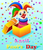 April Fools Day  with a cheerful clown out of the bo. April Fools Day illustration with a cheerful clown out of the box Royalty Free Stock Image