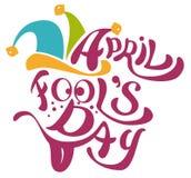 1 April Fools Day Clowne bedecken mit Glocken mit einer Kappe April Fools Day-Beschriftungstext für Grußkarte Stockfotografie