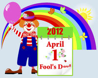 April fools day. Cute clown. Stock Photos