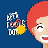 April fools day design. With cartoon clown face icon over blue background, colorful design vector illustration Royalty Free Illustration