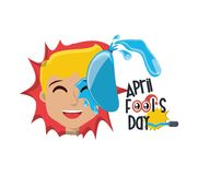 April fools day design. With cartoon man with water balloon icon over white background, colorful design vector illustration Royalty Free Illustration