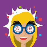 April fools day design. With cartoon woman with joke mask icon over purple background, colorful design vector illustration Royalty Free Illustration