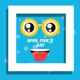 April fools day design. With decorative white frame and comic face showing the tongue icon over blue background, colorful design vector illustration Royalty Free Illustration