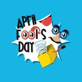 April fools day design. With joke box and comic face icon over blue background, colorful design vector illustration Vector Illustration