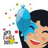 April fools day design. With water balloon splashed on woman face icon over background, colorful design vector illustration Royalty Free Illustration