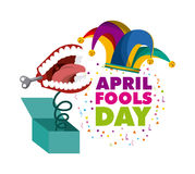 April fools day design. April fools day card with jester hat icon over white background. colorful design. vector illustration Stock Photo