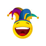 April fools day design. Happy emoji with jester hat over white background. april fools day concept. vector illustration Stock Image