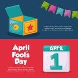 April fools day design. Infographic presentation of april fools day design with icon over colorful background vector illustration Stock Illustration