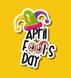 April fools day design. With jester hat icon over yellow background, colorful design vector illustration Stock Illustration