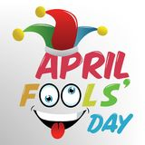 April fools day, Dumb Happy Cartoon Joker Face vector illustration. Isolated Stock Images