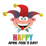 April fools day, Dumb Happy Cartoon Joker Face vector illustration. Isolated on white Royalty Free Stock Photo
