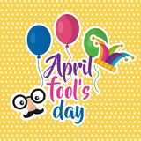 April fools day face mustache balloons jester hat poster. Vector illustration Royalty Free Stock Photos