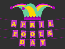 April Fools` Day. Festive background with hat with bells and paper garland. Vector. Illustration Royalty Free Stock Photo