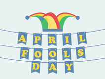 April Fools` Day. Festive background with hat with bells and paper garland. Vector. Illustration Stock Photography