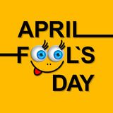 April Fools Day greeting card or background with funny cartoon f Royalty Free Stock Photos
