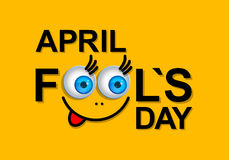 April Fools Day greeting card or background with funny cartoon f Royalty Free Stock Photo