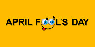 April Fools Day greeting card or background with funny cartoon f Royalty Free Stock Photography
