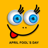 April Fools Day greeting card or background with funny cartoon f Stock Photography