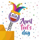 April fools day greeting card emoji smiling with hat and confetti. Vector illustration Royalty Free Stock Photo