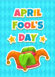 April Fools day greeting card template. April Fool s day greeting card template. Funny cartoon illustration with Jesters hat and slogan on blue background stock illustration