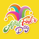 April Fools Day greeting. Colorful typography with jester hat  lettering design. Perfect for greeting card, banner or advertisement Royalty Free Stock Images